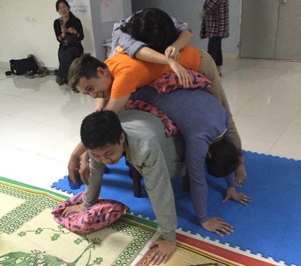 Participants in a pile