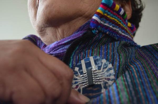 E-textile on Guatemalan fabric