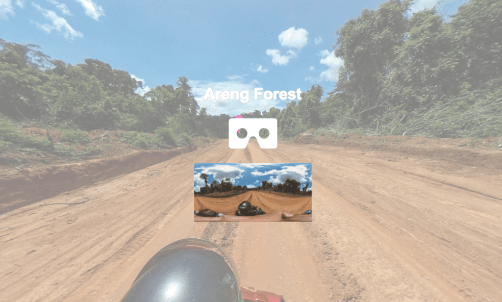 Screenshot of the road to Areng Forest, Cambodia in the project's 360 immersive website. Photo by Mech Sereyrath.