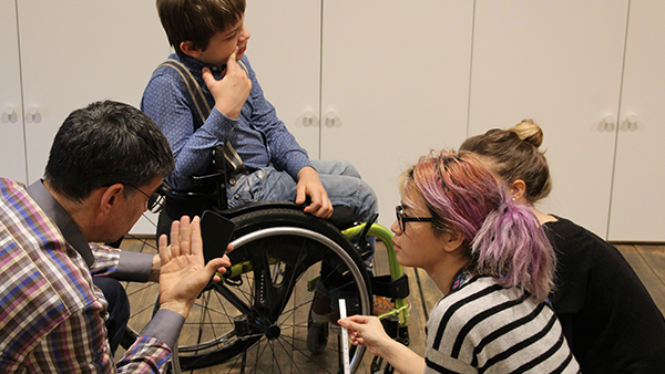 Brainstorming how to aesthetically customize wheelchairs. Photo by Daria Kolkuntsova.