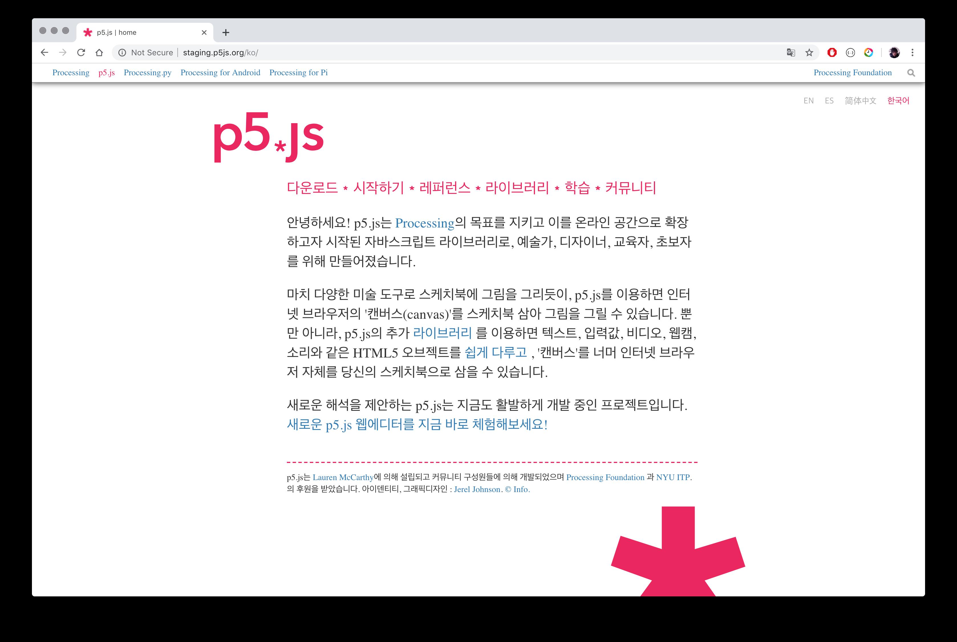 Screenshot of p5.js website in Korean language